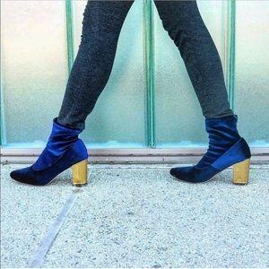 Gold Queen Heel Velvet Sock Booties